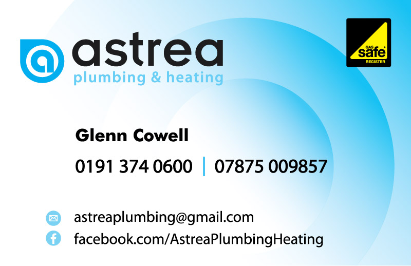 astrea plumbing & heating business card