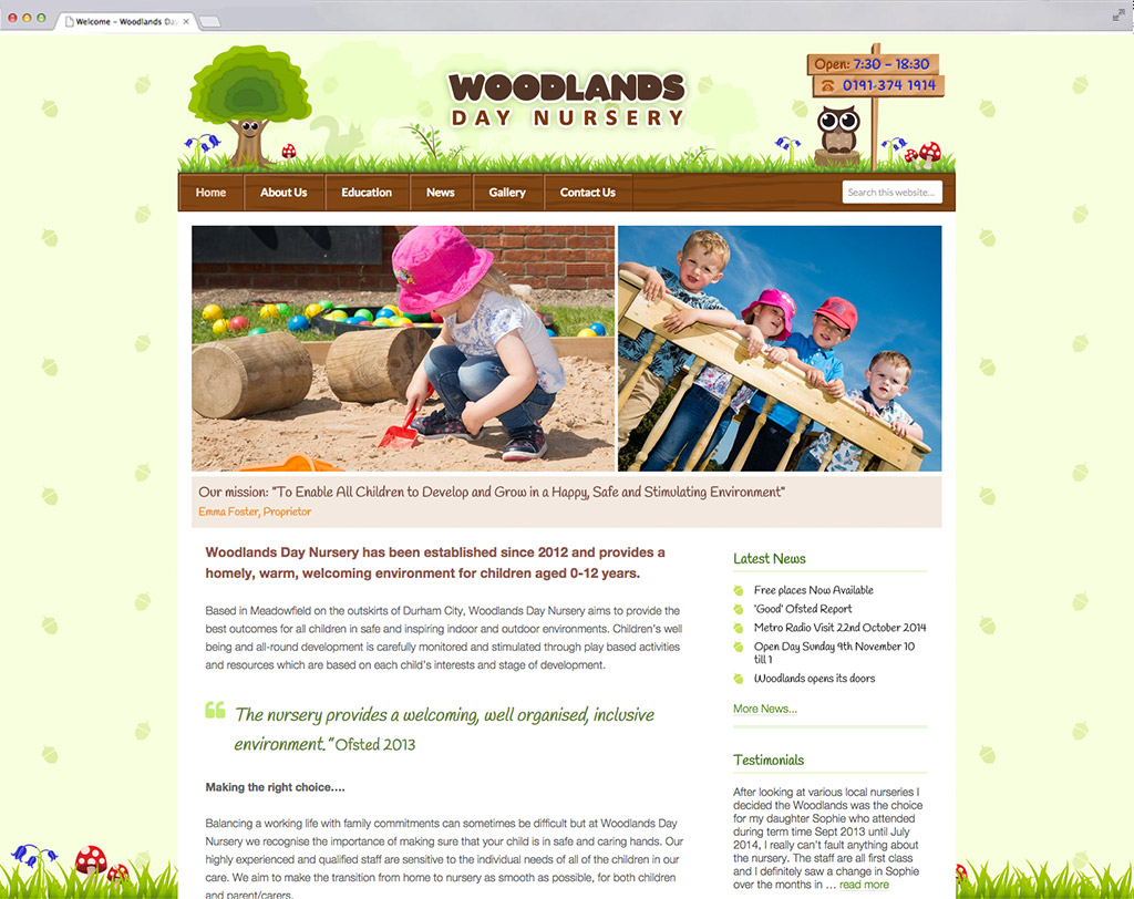 Woodlands Day Nursery website