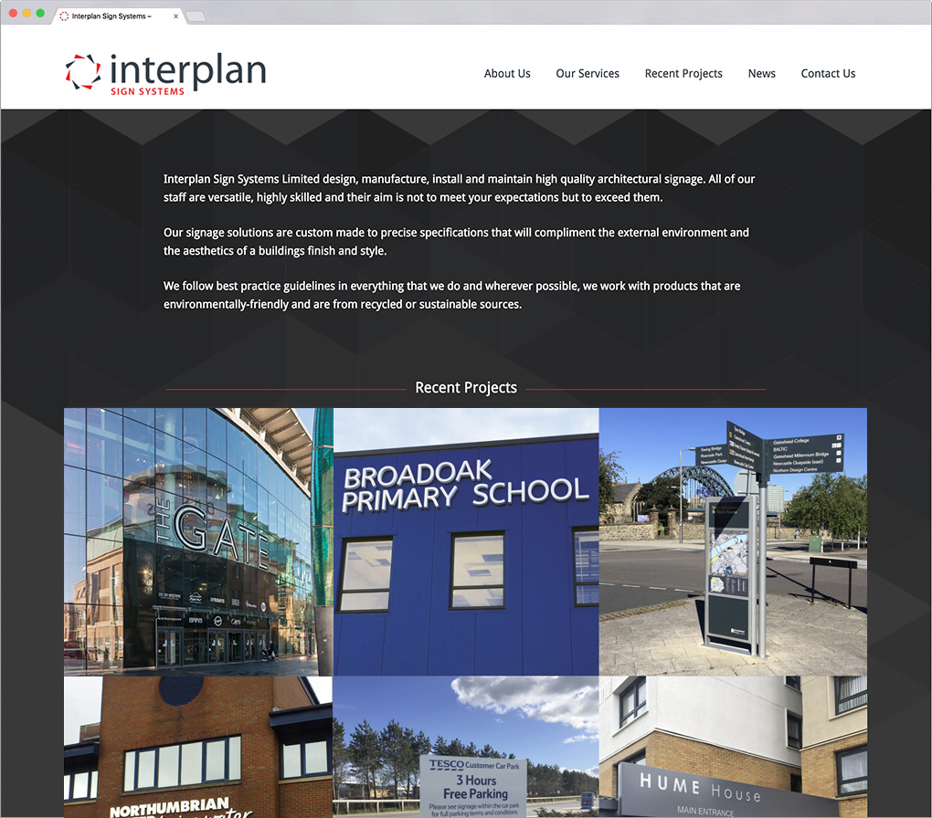 Interplan Sign Systems website
