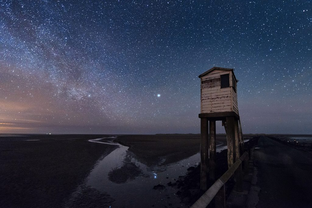 Respite Tower under milkyway on Lindisfarne causeway