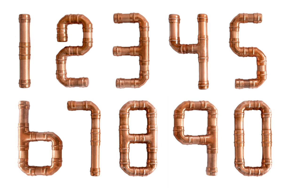 Copper pipe numbers 0-9